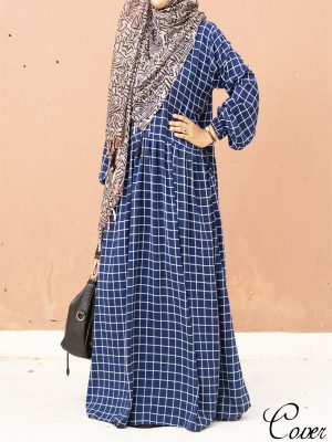 College maxi- blue checkered
