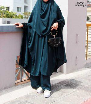 Niqab Khimar-Palazzo Set (teal green)