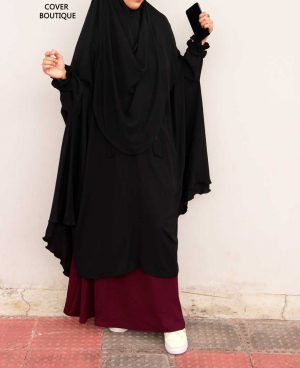 Niqab-Khimar Set (black-maroon)