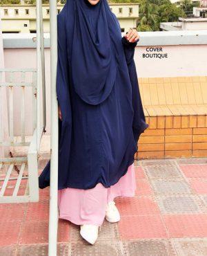 Niqab-khimar Set (blue-pink)