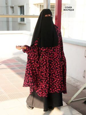 Niquab khimar-Skirt Combo (red print)