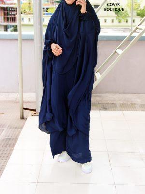 Niqab Khimar-Palazzo Set (navy blue)