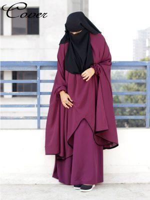 Sanjida Jilbab Set (deep magenta)