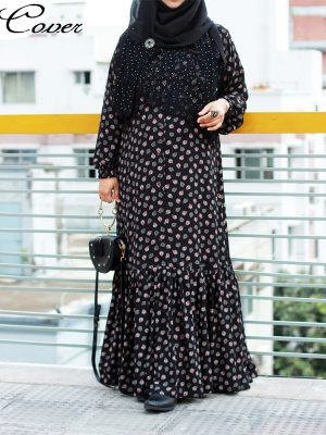 Nusaiba Gown (black print)