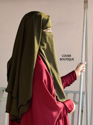3 Layer Piku Round Niqab (olive)