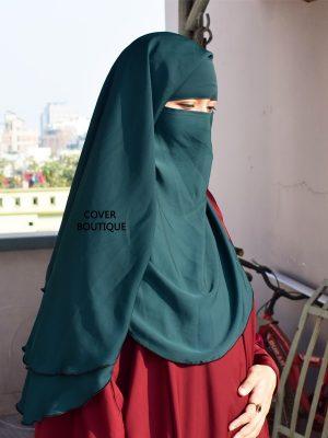 3 Layer Piku Round Niqab (teal)