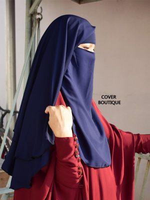 3 Layer Piku Round Niqab (navy blue)