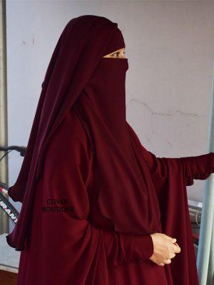 2 Layer Piku Round Niqab (maroon)
