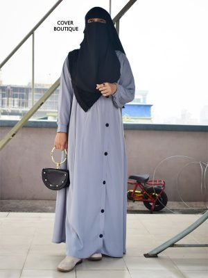 Side Buttoned Burqa (gray)