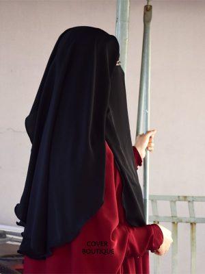 2 Layer Piku Round Niqab (black)