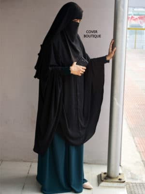 Basma Khimar Black with Teal Inner