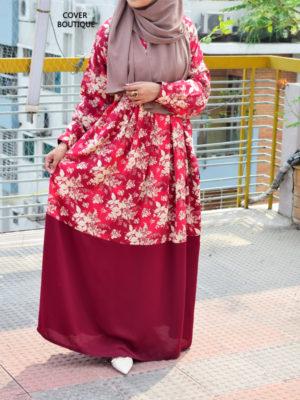 Zakiya Gown (maroon print)