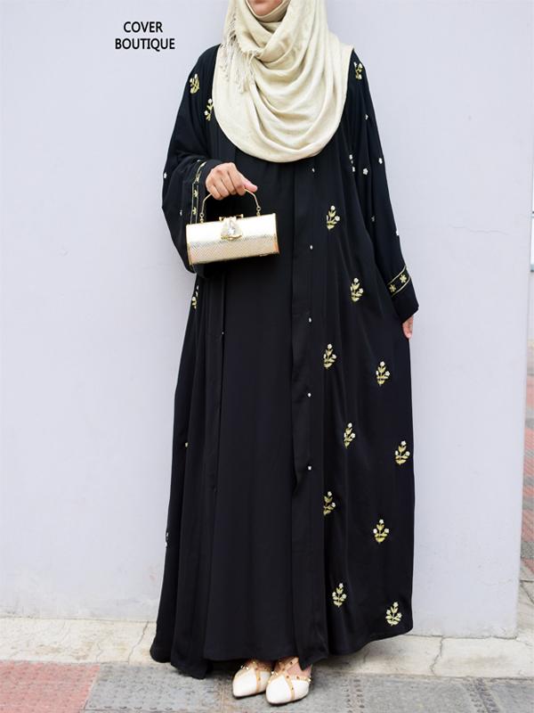 Scarlet Abaya (black zardosi)