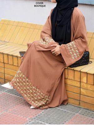 Scarlet Abaya (bronze zardosi)