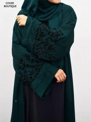 Scarlet Abaya (teal leaves)