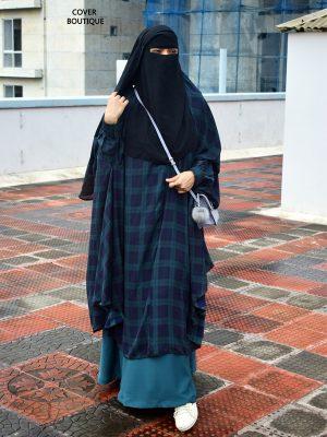 Signature Jilbab – blue checkered
